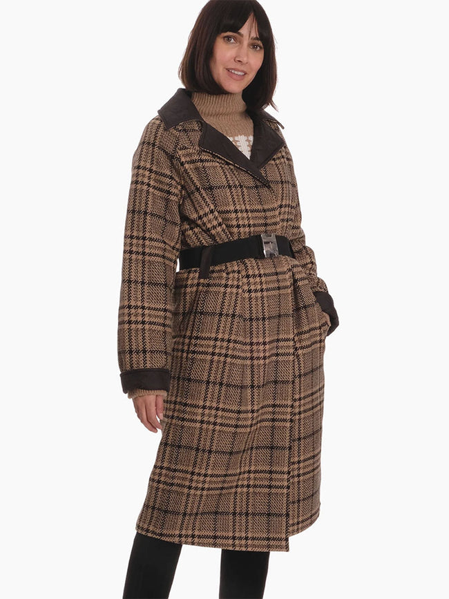 TECH/WOOL REVERSIBLE COAT- BROWN