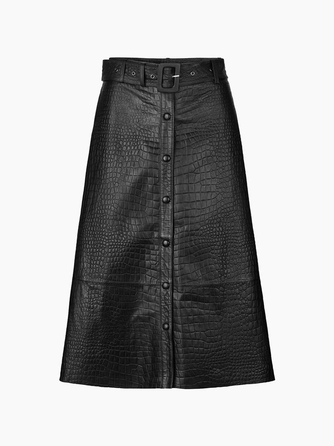 KYLIE LEATHER SKIRT - BLACK