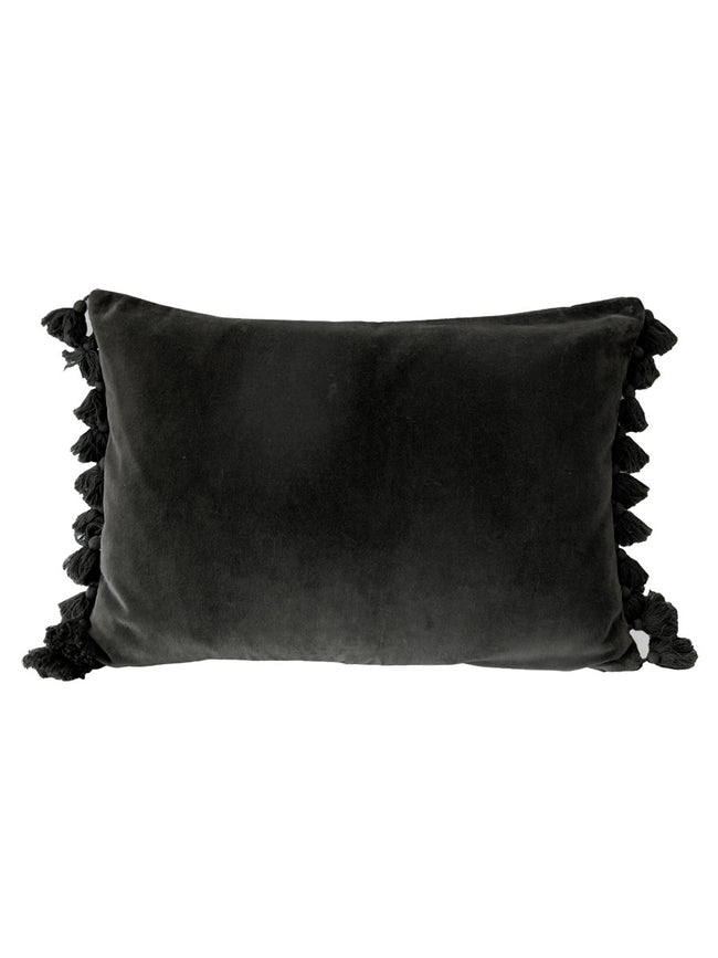VELVET TASSEL CUSHION - BLACK