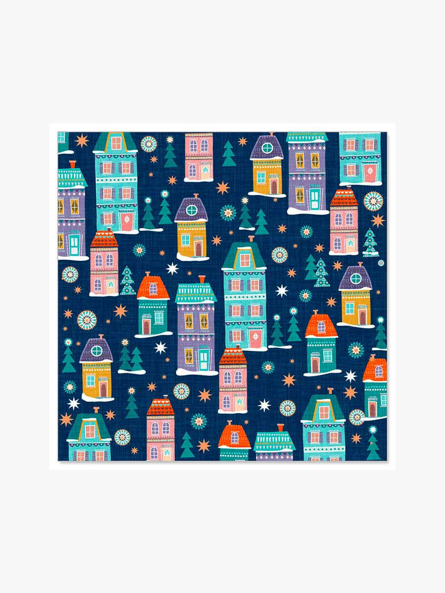 XMAS HOUSES NAPKINS - BLUE