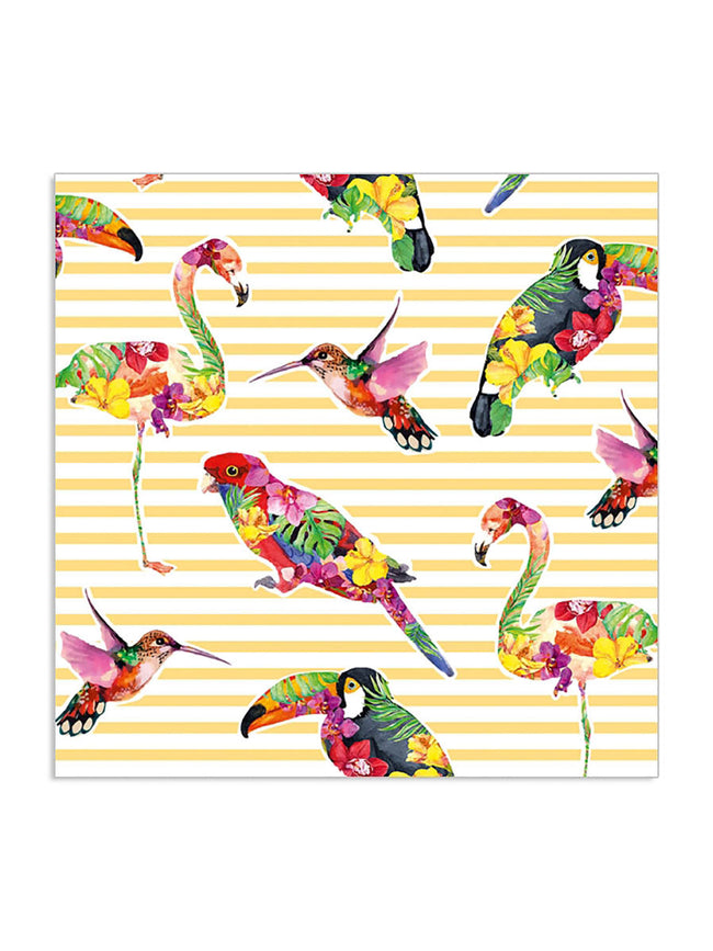 PARADISE BIRDS YELLOW STRIPE NAPKINS