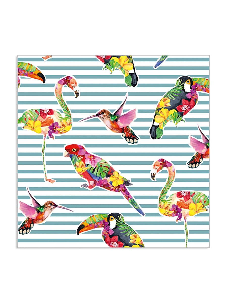 PARADISE BIRDS GREEN STRIPE NAPKINS
