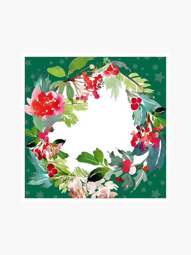 GREEN WREATH NAPKINS