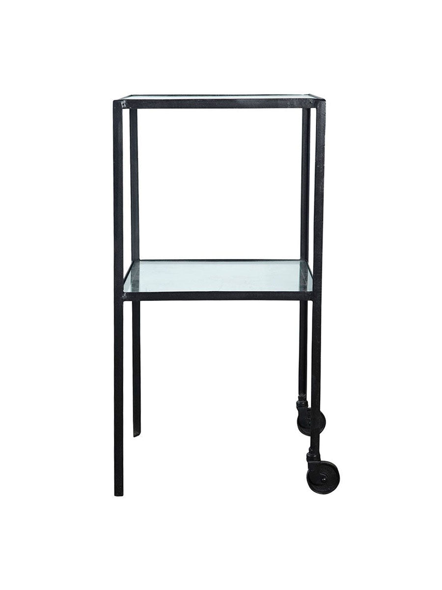 TROLLEY TABLE W/GLASS SHELVES