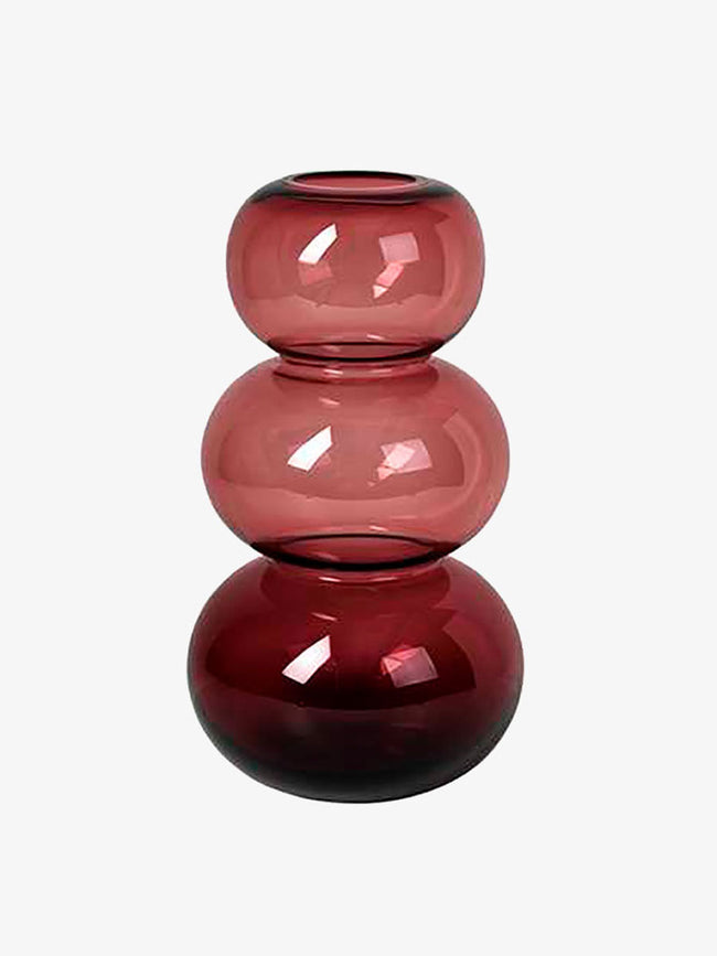 LARGE BUBBLE MOUTHBLOWN VASE - PLUM WINE