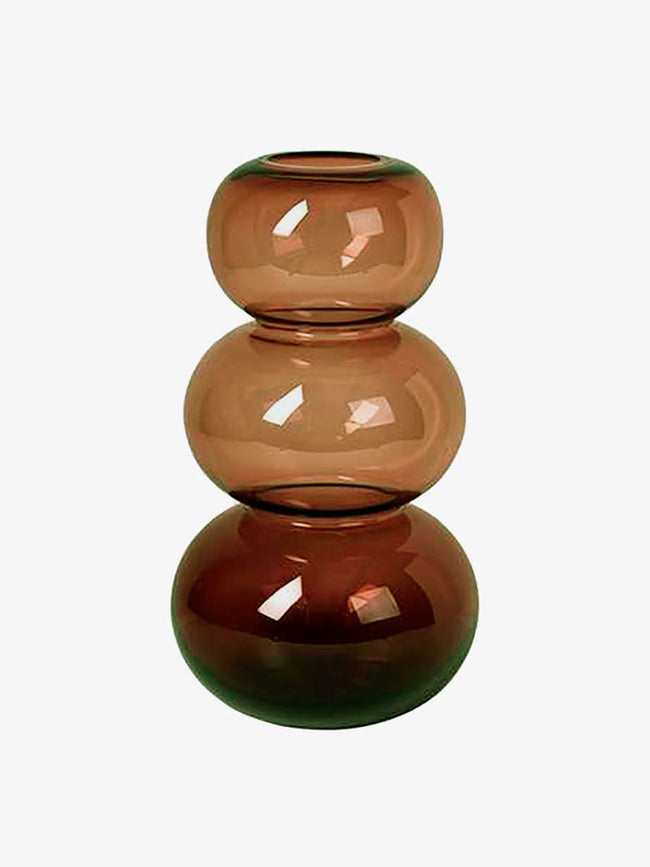 LARGE BUBBLE MOUTHBLOWN VASE - INDIAN TAN