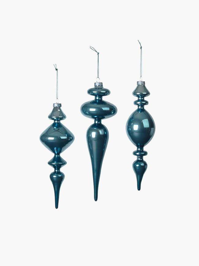 HANGING CHRISTMAS ORNAMENTS SET OF 3 - ORION BLUE