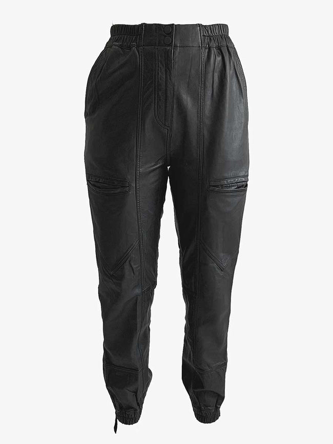MANNA LEATHER BIKER TROUSERS - BLACK