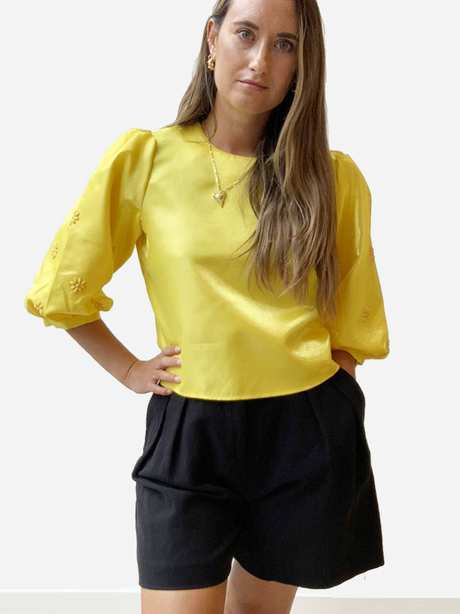 ANNA BEADED BLOUSE - YELLOW