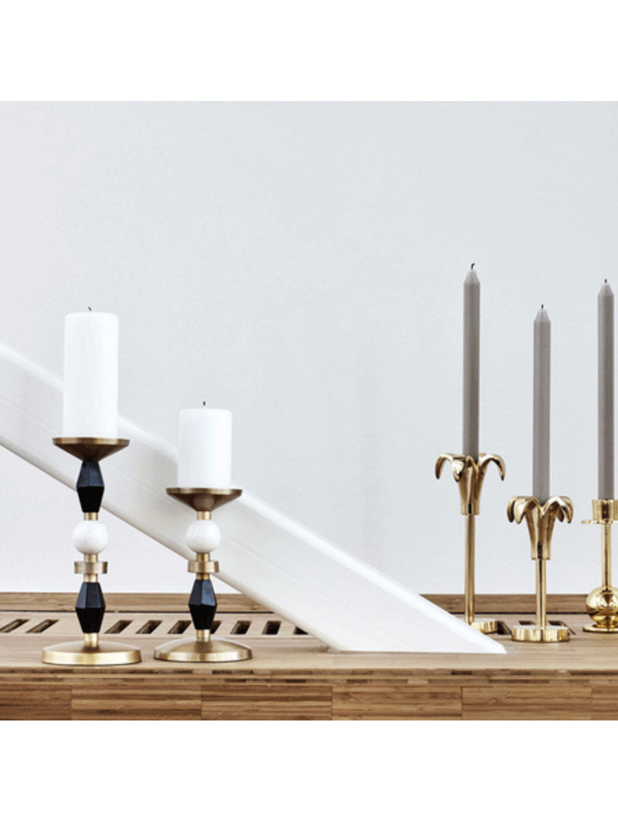 ELVIN BRASS MARBLE & WOOD CANDLESTICK M
