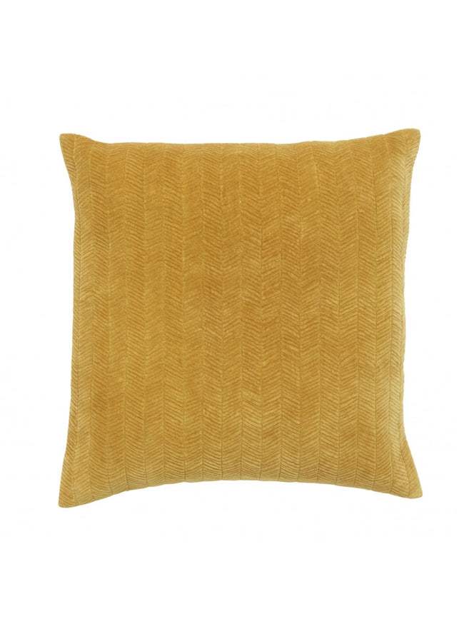 FINE LINES QUILTED VELVET CUSHION - CURRY