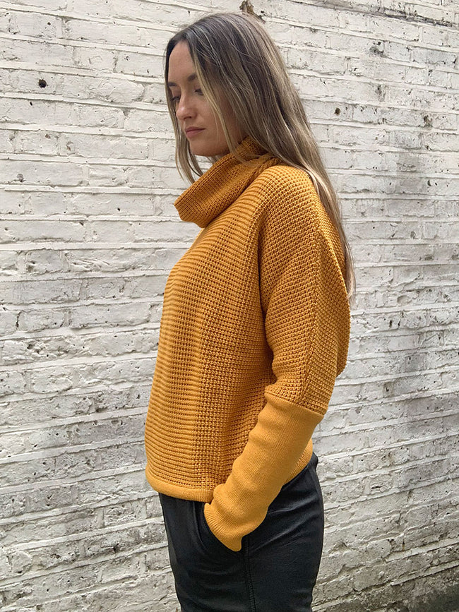 TUT DRAPED TURTLENECK JUMPER - CURRY