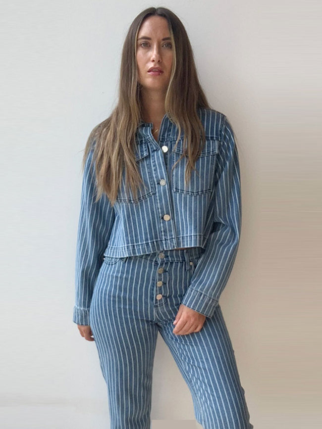 BENNA DENIM JACKET - BLUE STRIPE DENIM
