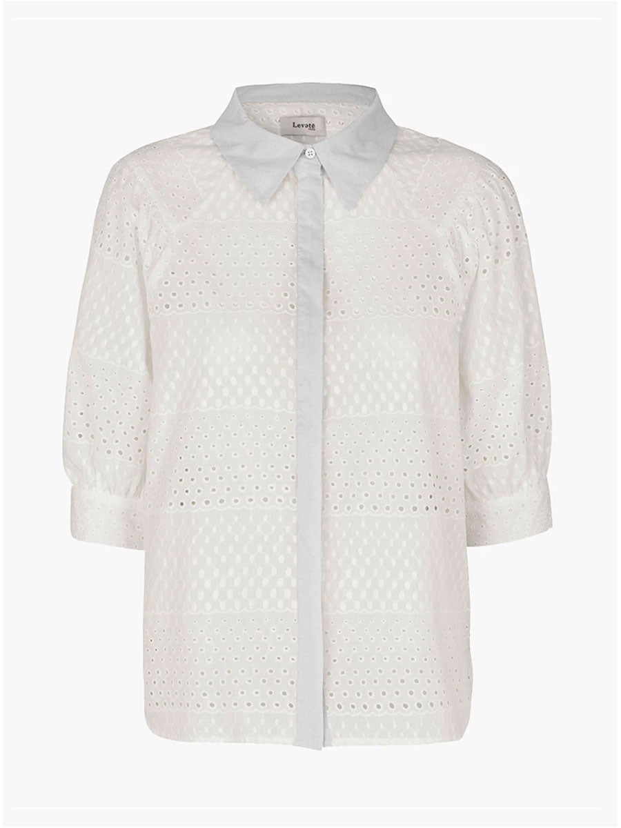 ISA LOUISE BRODERIE SHIRT - WHITE