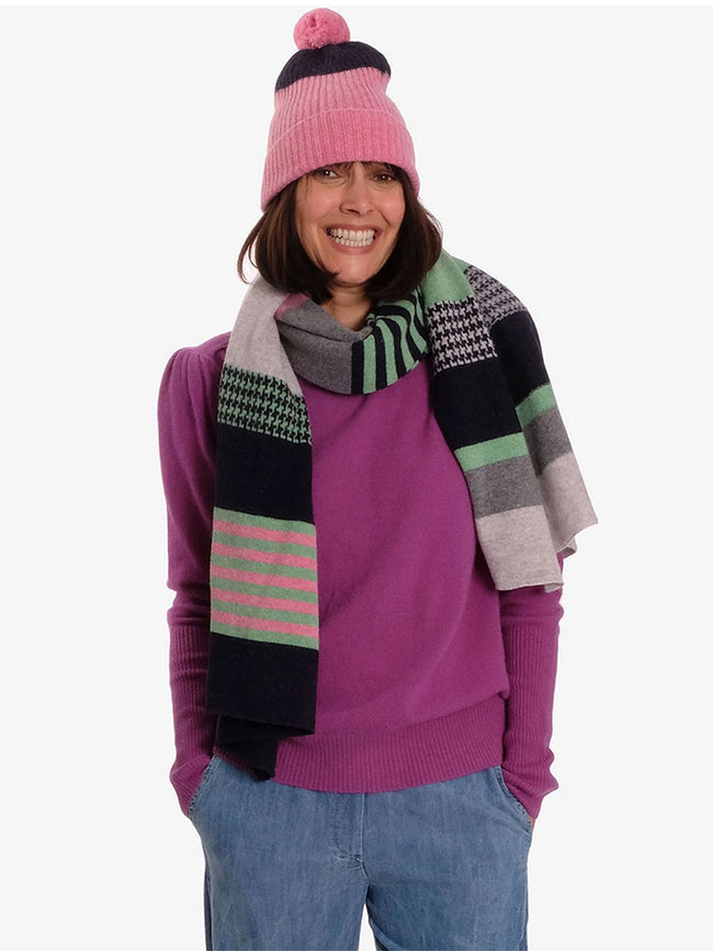 MERINO WOOL HOUNDSTOOTH SCARF - SUGAR MIX