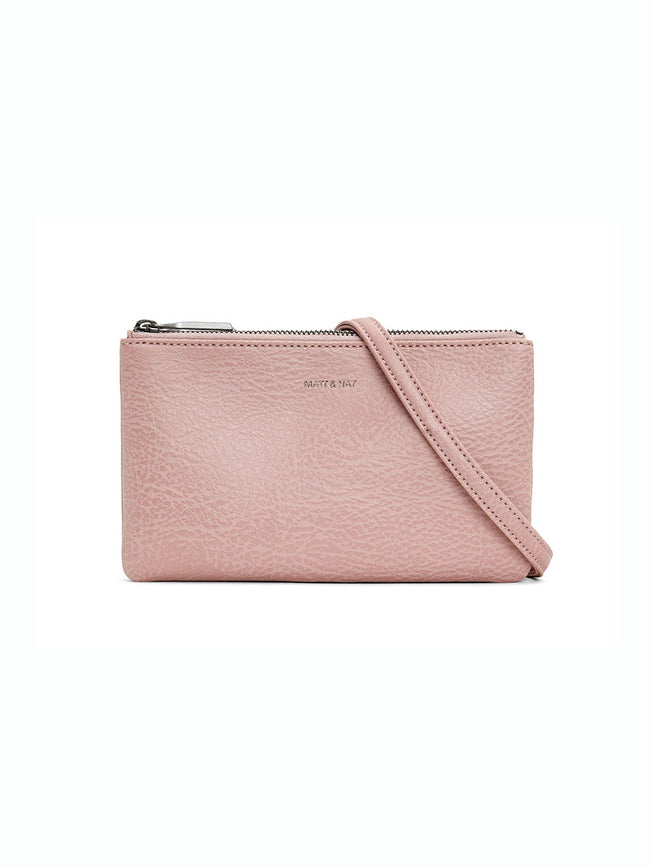 TRIPLET VEGAN CROSSBODY BAG - PEBBLE PINK