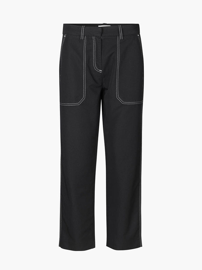 JULIE CONTRAST STITCH TROUSERS - BLACK