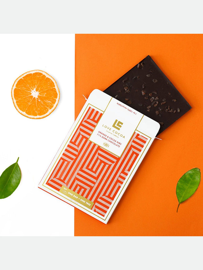 ORANGE AND NIBS DARK CHOCOLATE BAR