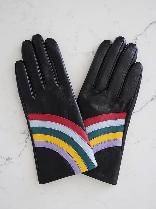 LEATHER GLOVES - BLACK RAINBOW