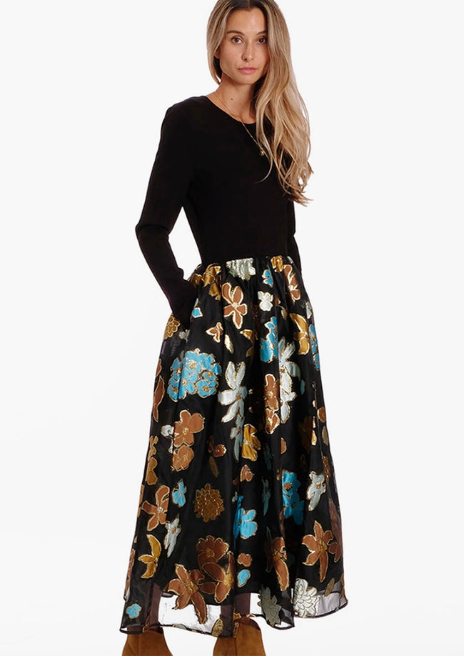 ALBA ORGANZA JERSEY MIX FLORAL GARDEN DRESS