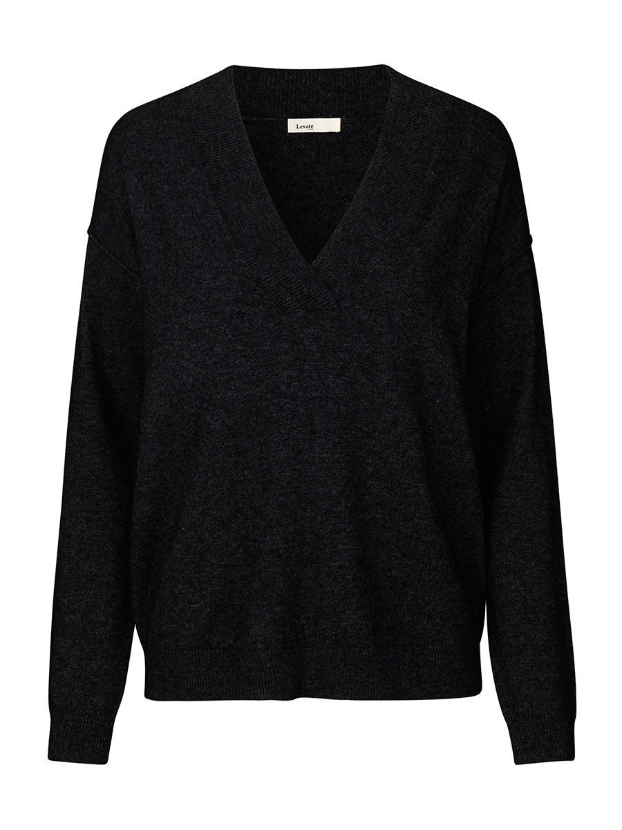 FUNDA 8 V-NECK JUMPER - BLACK
