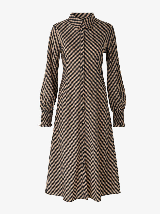 KAMMA CHECK LONG DRESS - BLACK MULTI