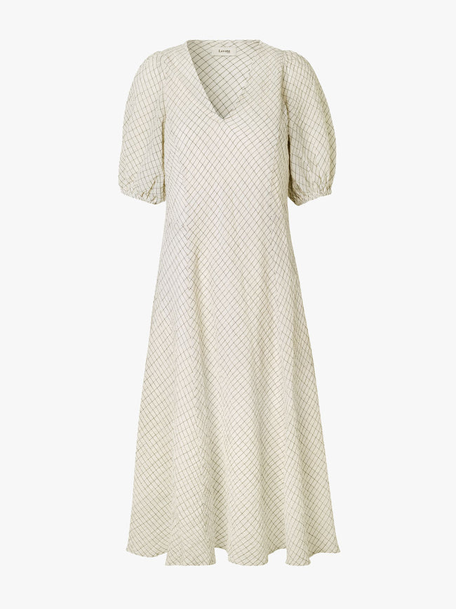KIWI CHECK MIDI DRESS - ANTIQUE WHITE