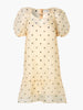 KADA PUFF SLEEVE SPOT DRESS - ANTIQUE WHITE
