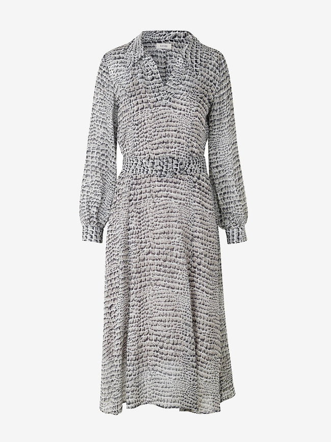 KIRA BELTED SNAKE PRINT DRESS - PALE GREY