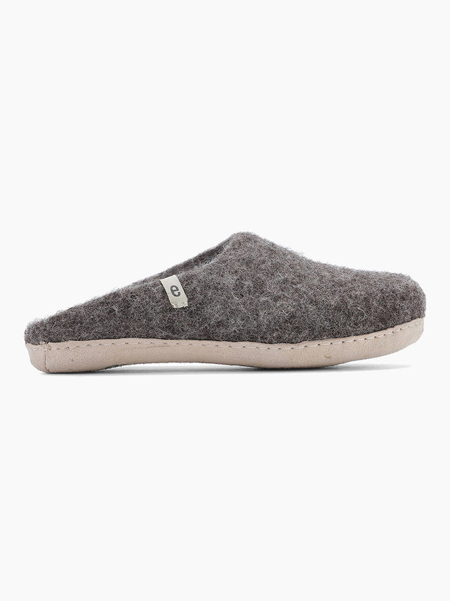 WOOL SLIPPERS - NATURAL BROWN