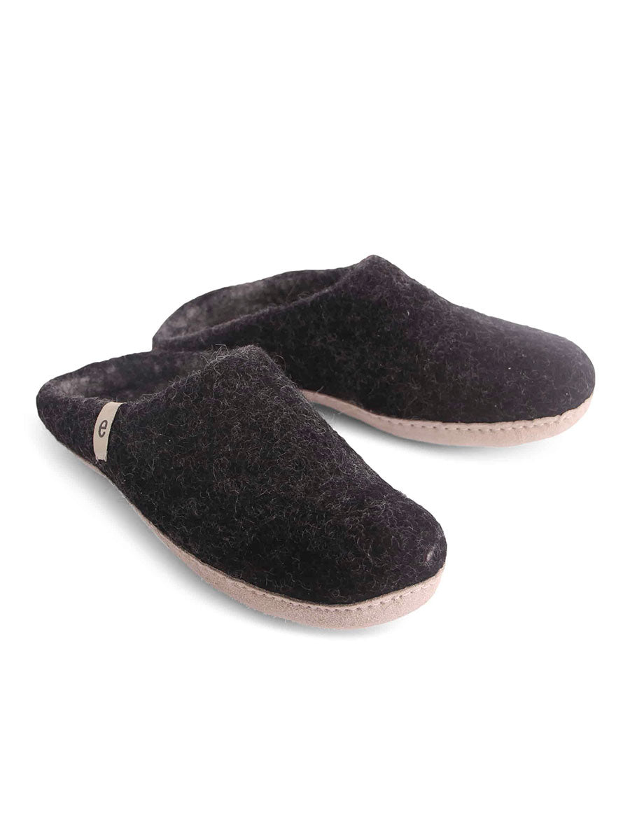 WOOL SLIPPERS - BLACK