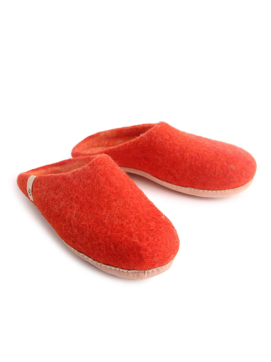 WOOL SLIPPERS - RUSTY RED
