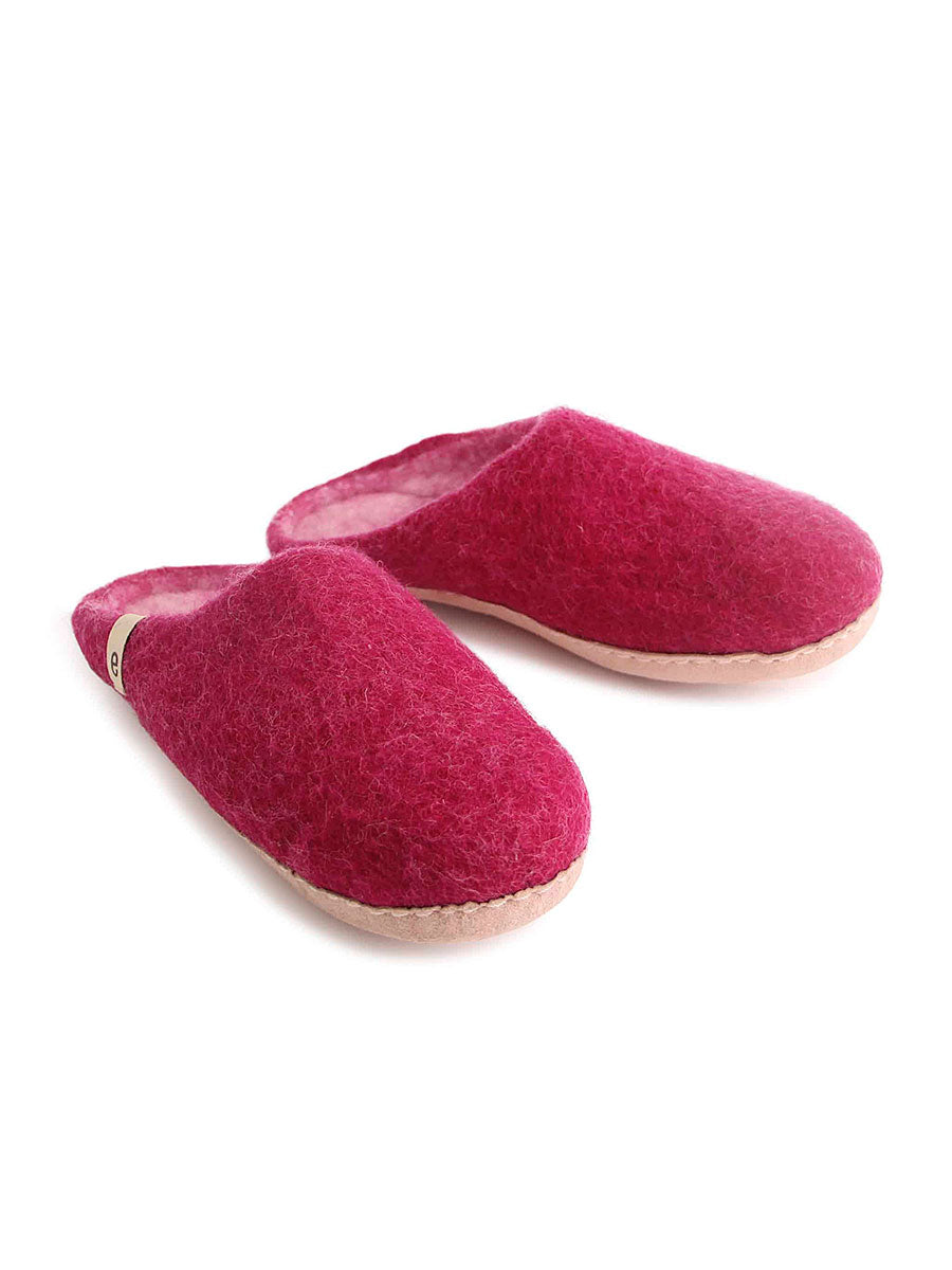 WOOL SLIPPERS - CERISE