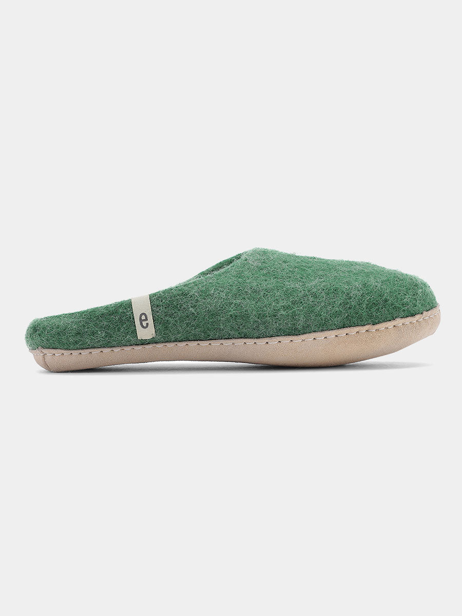 WOOL SLIPPERS - GREEN