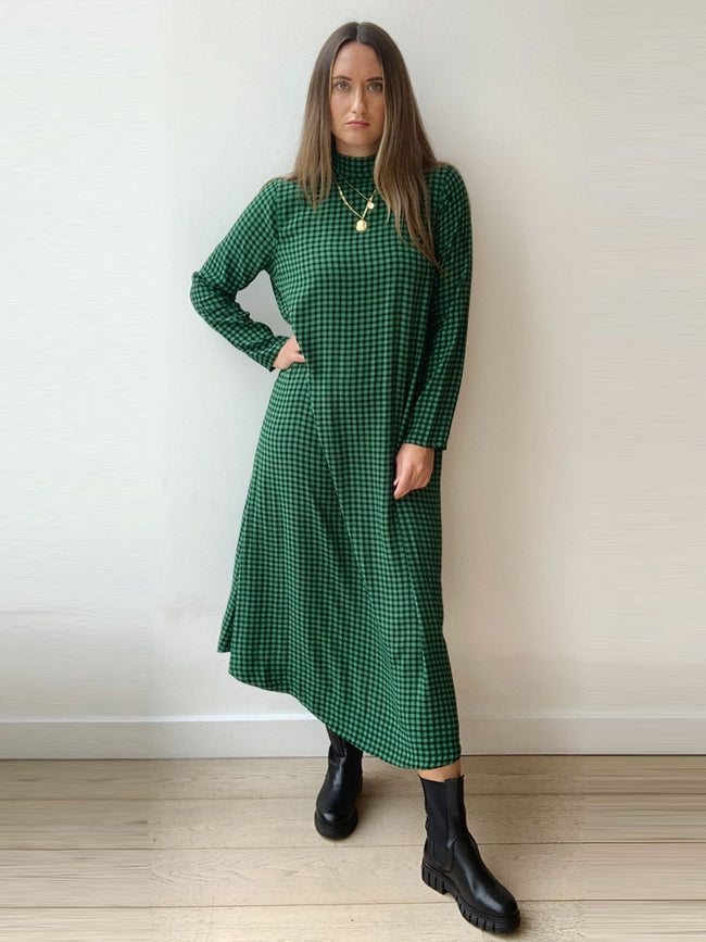 PRINTED CREPE DRESS - FOLIAGE GREEN