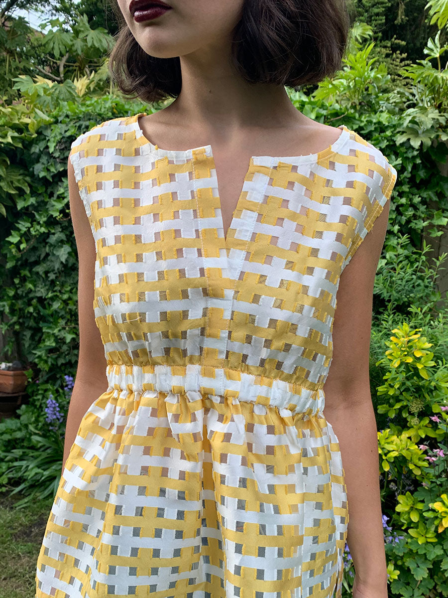 DOT CHECK SLEEVELESS DRESS - YELLOW