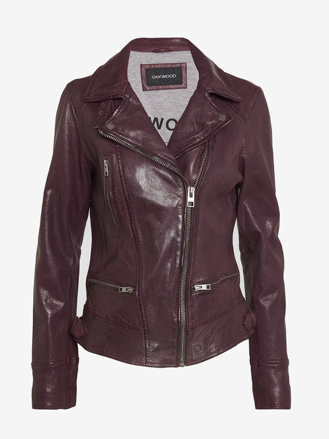 VIDEO LEATHER BIKER JACKET - PLUM