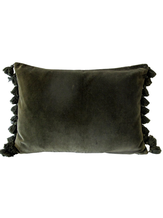 VELVET TASSEL CUSHION - OLIVE