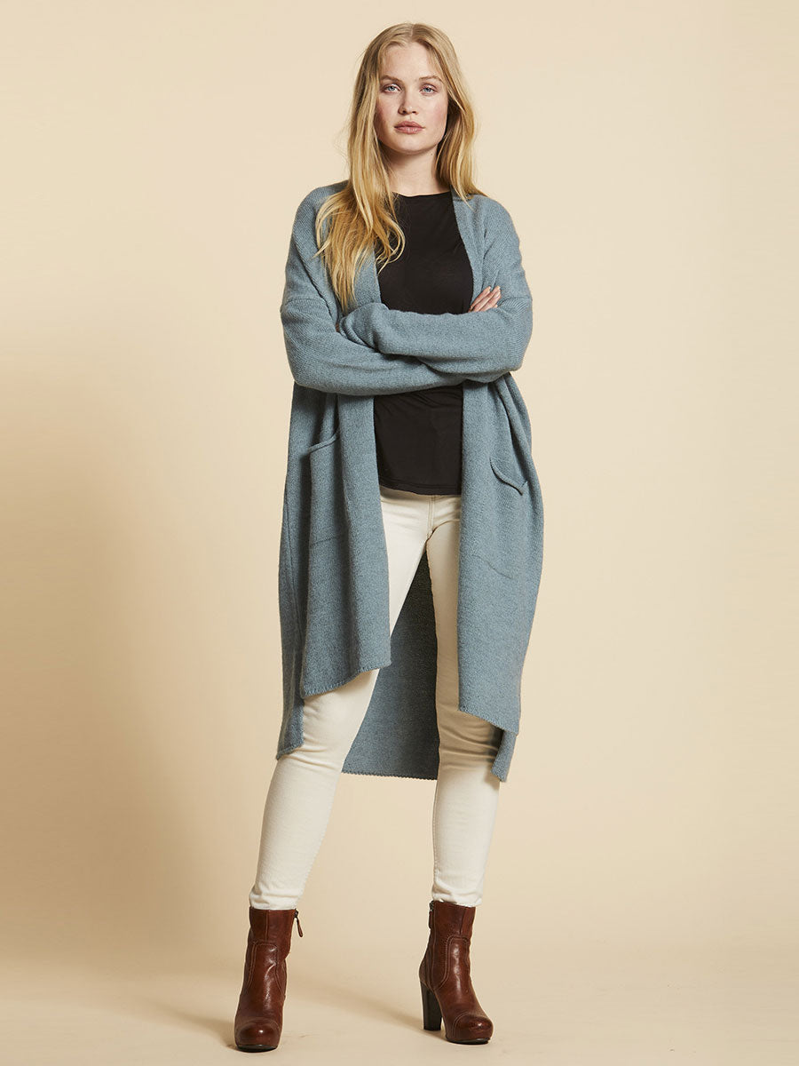 MAINE LONG OPEN CARDIGAN - LIGHT PETROL