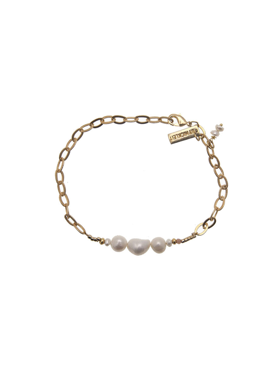 BAROQUE PEARL CHAIN BRACELET - GOLD