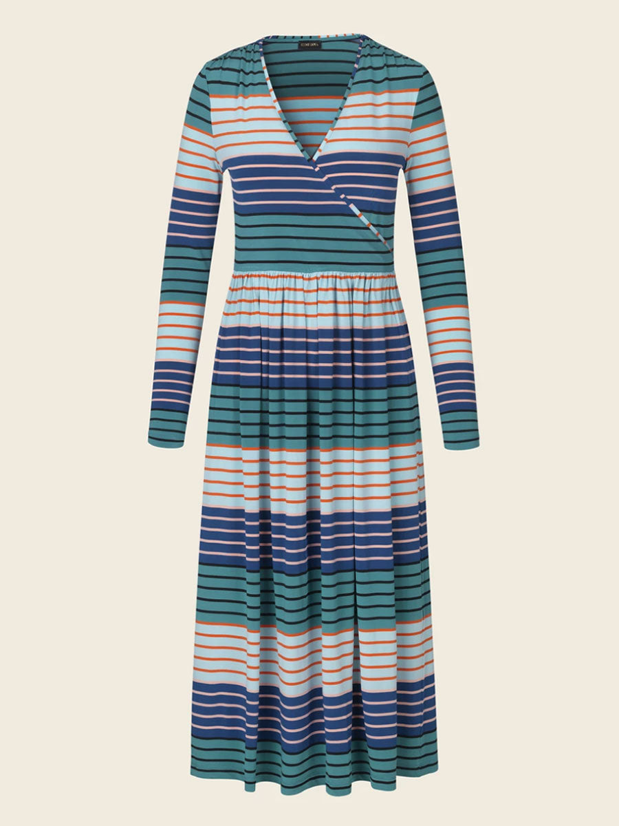 ALINA MULTI STRIPE JERSEY DRESS