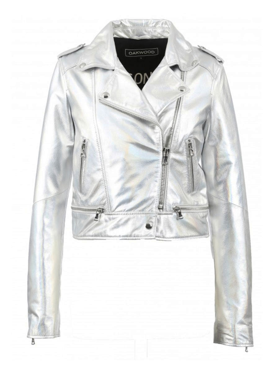 YOKO LEATHER BIKER JACKET - SILVER