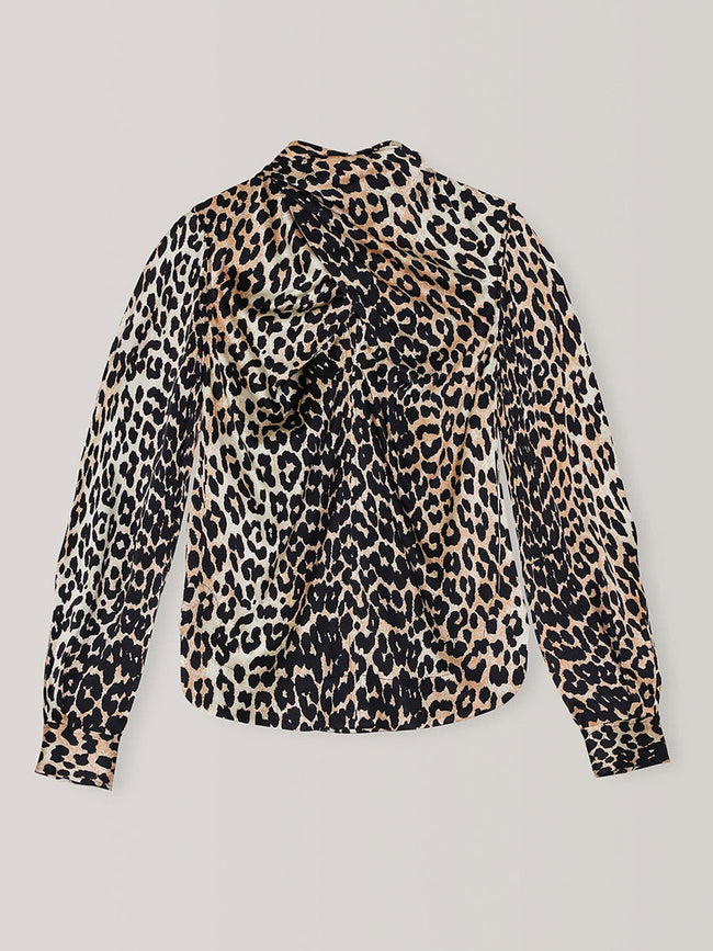SILK STRETCH SATIN BLOUSE - LEOPARD