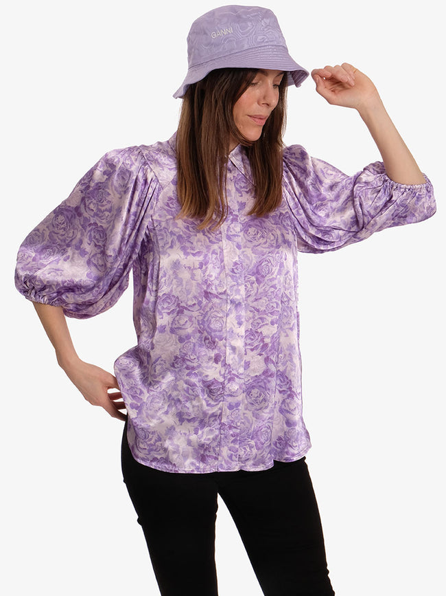 HEAVY SATIN SHIRT - VIOLET TULIP