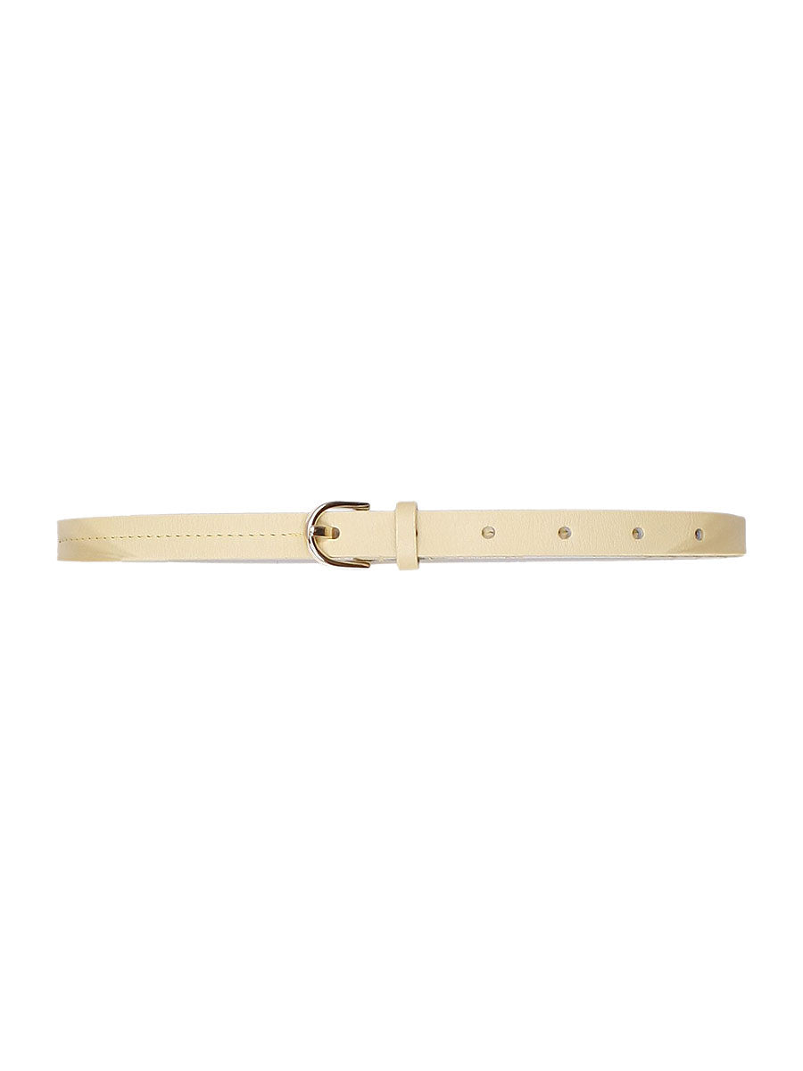 LORELEI SKINNY LEATHER BELT - DUSKY CITRON