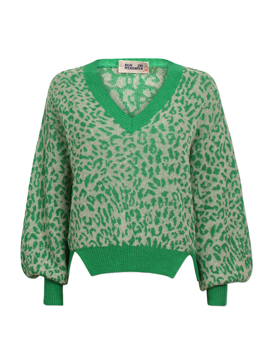 CHARLIZE GREEN LEO LUREX JUMPER