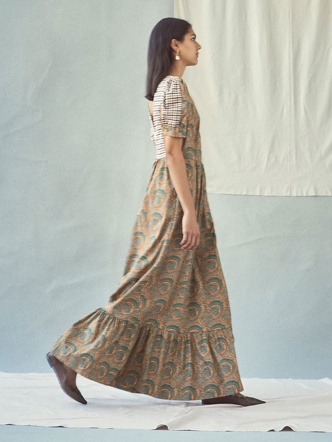 AERIN PAISLEY & CHECK MAXI DRESS