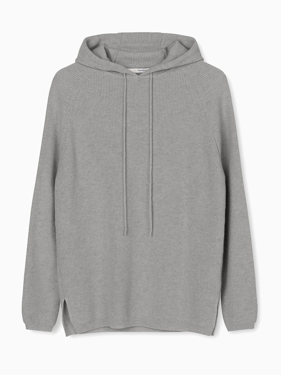 FREJA HOODED KNITTED JUMPER - DARK MELANGE GREY
