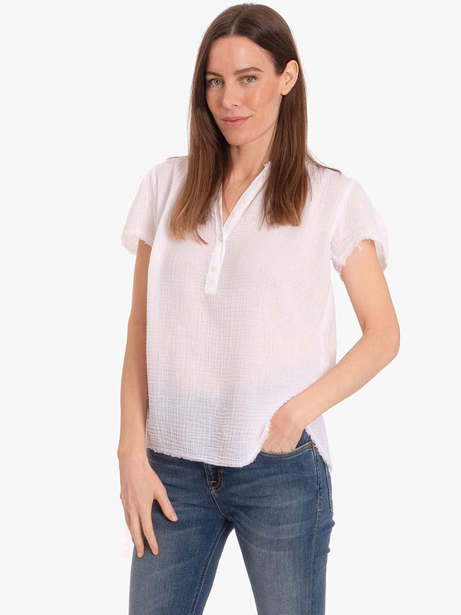 VALENTINE SHORT SLEEVE TOP - WHITE
