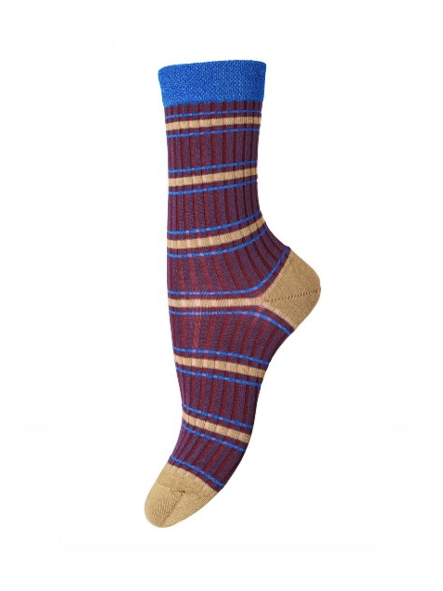 SARAH ANKLE SOCKS - PURPLE/CAMEL